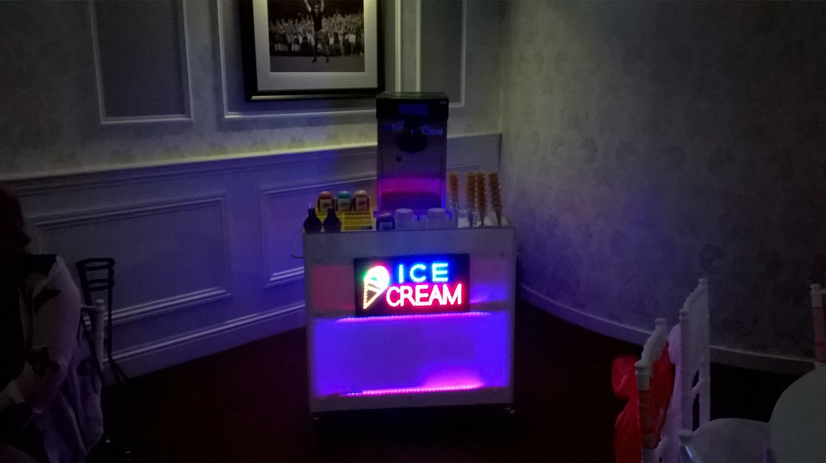 Ice cream machine and LED Ice-cream bar hire